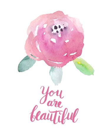 beatiful: Motivation poster You are beatiful Abstract background Illustration