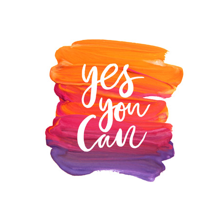 can yes you can: Motivation poster Yes you can Abstract background Illustration
