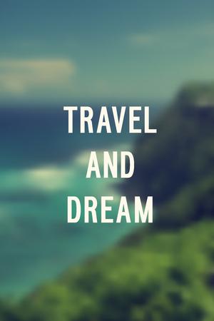 Motivation poster Travel and dream Vector illustration. 向量圖像
