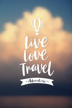 """""""Live love travel"""" Plakat. Vektor-Hintergrund. Standard-Bild - 63392307"""
