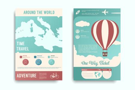 Travel flyer set. Vector illustration. Vectores