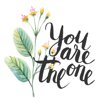 Calligraphy text with watercolor flower. Vector illustration.