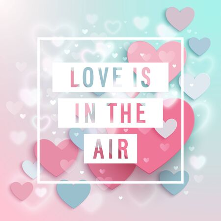 Valentine's Day invitation card with heart shaped air baloons. Vectores