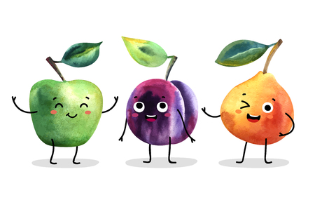 Watercolor cute fruit characters. Vector illustration.