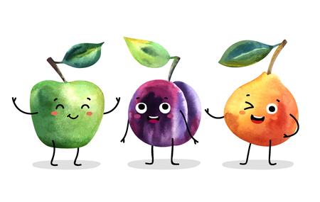 Watercolor cute fruit characters. Vector illustration.