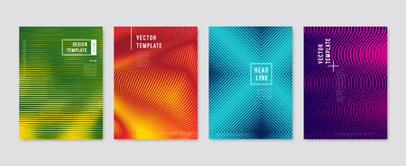 Colorful halftone flyers. Vector templates.