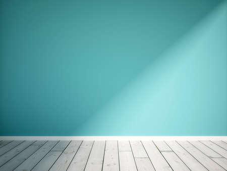 blue empty interior with wooden flooring
