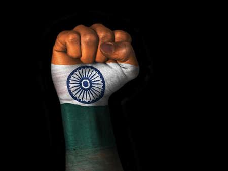 Flag of India painted on raised fist