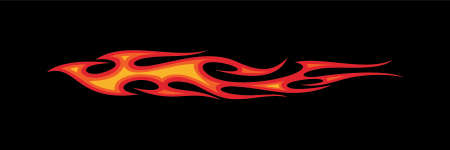 Vector Illustration of blazing hot red flames in black background. Motor cycle graphic concept.