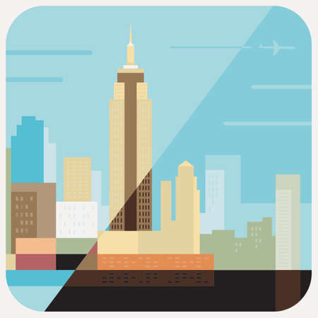 Travel Icon, representation of famous city in colorful vector of empire estate Building, Newyork.