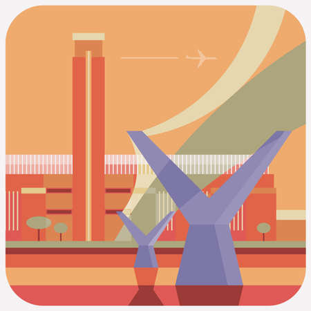 Travel Icon, representation of famous city in colorful vector of Brooklyn Bridge, Newyork.