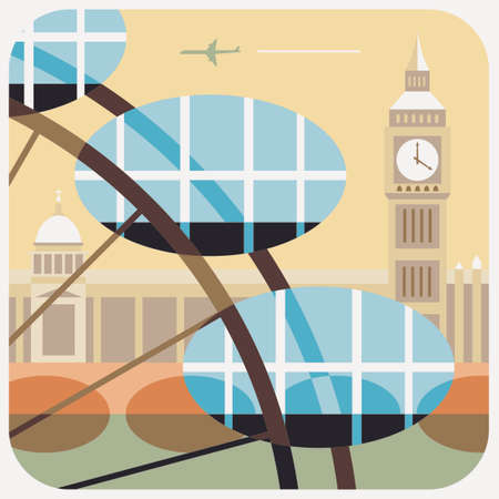 Travel Icon, representation of famous city in colorful vector of clock tower and giant wheel of London.