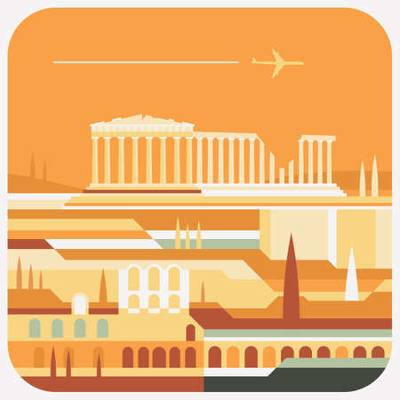 Travel Icon, representation of famous city in colorful vector of a city in Rome. Illusztráció