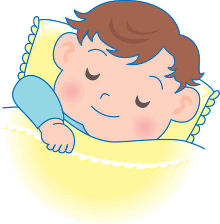 Vector Illustration of an happy baby sleeping nicely