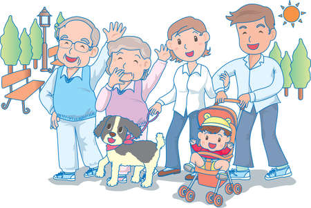 Vector Illustration of an happy Family strolling in park with a Baby