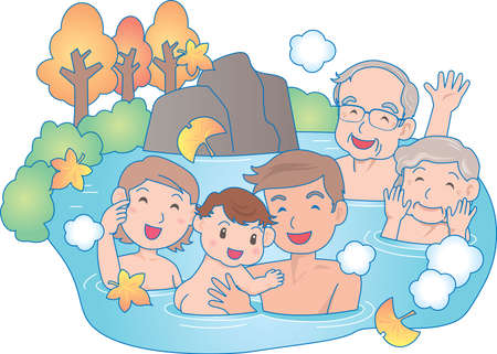 Vector Illustration of an happy family relaxing in a hot pool