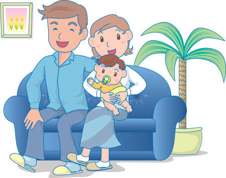 Vector Illustration of an happy family watching television together