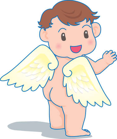 Vector Illustration of an happy baby wearing cupid wings.