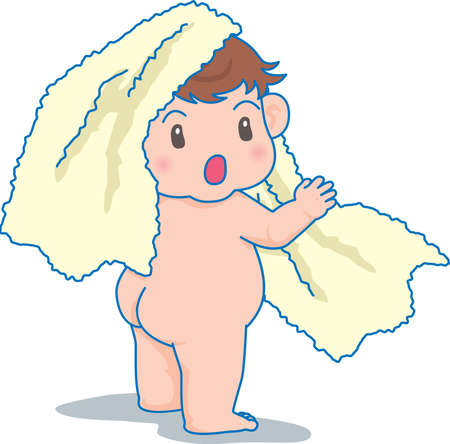 Vector Illustration of an happy baby playing with towel