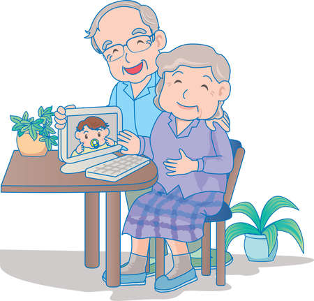 Vector Illustration of an happy baby video conferencing with grand parents.