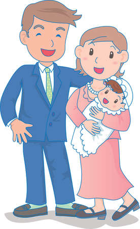 Vector Illustration of an happy family dressed up for wedding  イラスト・ベクター素材