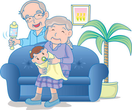 Vector Illustration of an happy baby wrapped in cloth in the hands of grand mother.