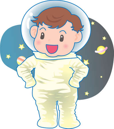 Vector Illustration of an happy baby in space in astronaut suit