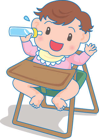 Vector Illustration of an happy baby drinking milk from a bottle  イラスト・ベクター素材