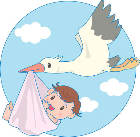 Vector Illustration of an happy baby carried by stork  イラスト・ベクター素材
