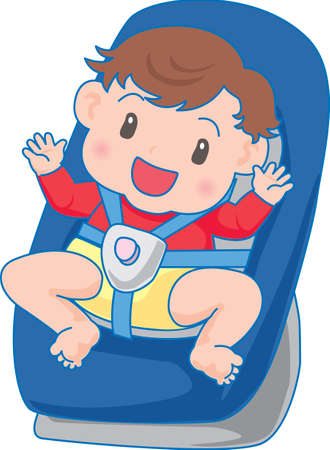 Vector Illustration of an happy baby strapped in a car seat