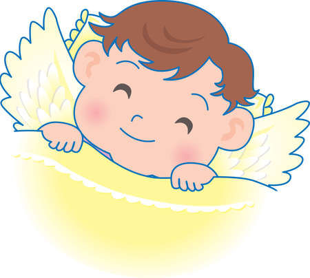 Vector Illustration of an happy baby with angel wings  イラスト・ベクター素材