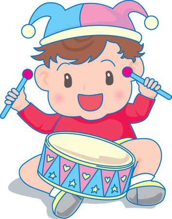 Vector Illustration of an happy baby playing drums  イラスト・ベクター素材