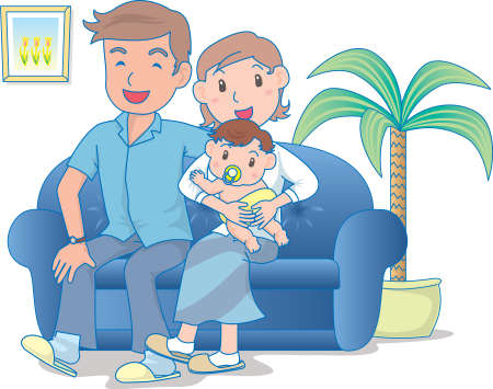 Vector Illustration of an happy family sitting in living room together