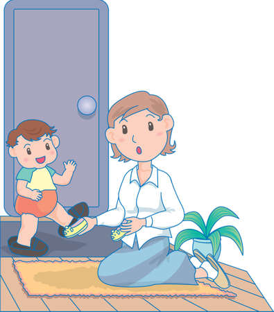 Vector Illustration of an happy baby playing with mother and shoes  イラスト・ベクター素材