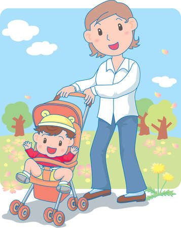 Vector Illustration of an happy baby strolling in park with mother