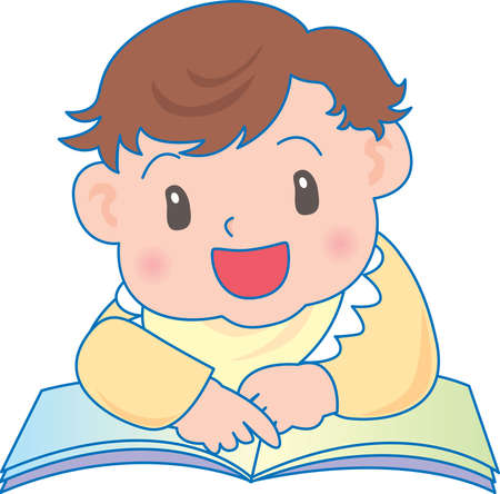 Vector Illustration of an happy baby reading book