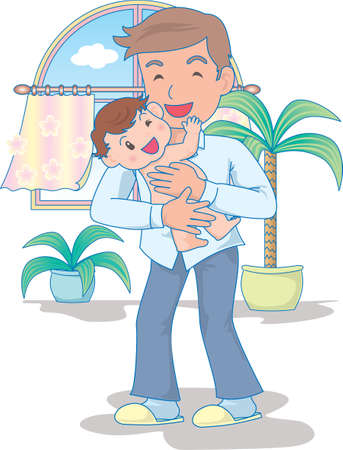 Vector Illustration of an happy baby playing with father after bathing  イラスト・ベクター素材