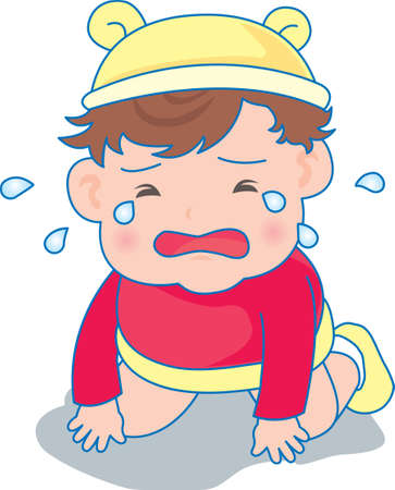 Vector Illustration of a baby crying and crawling  イラスト・ベクター素材
