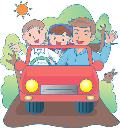 Vector Illustration of an happy family driving a car  イラスト・ベクター素材