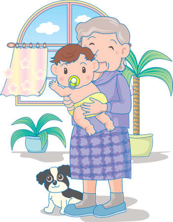 Vector Illustration of an happy baby playing in grand mother's hands.