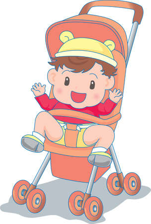 Vector Illustration of an happy baby in a stroller  イラスト・ベクター素材