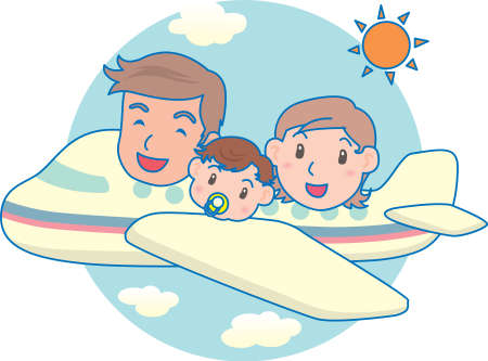 Vector Illustration of an happy family flying in an airplane