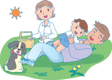 Vector Illustration of an happy family in picnic in a park