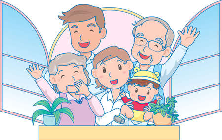 Vector Illustration of an happy family waving from the balcony  イラスト・ベクター素材