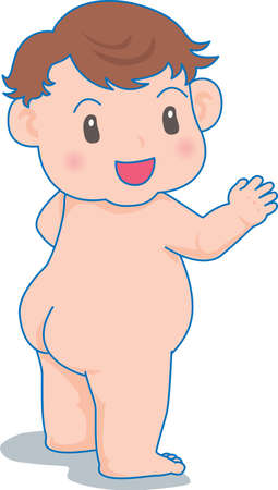 Vector Illustration of an happy baby naked