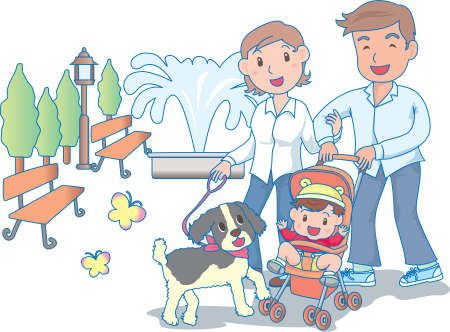 Vector Illustration of an happy family strolling in park  イラスト・ベクター素材