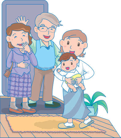 Vector Illustration of an happy baby sending off some one with family  イラスト・ベクター素材