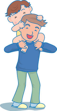 Vector Illustration of an happy baby sitting on father's shoulders