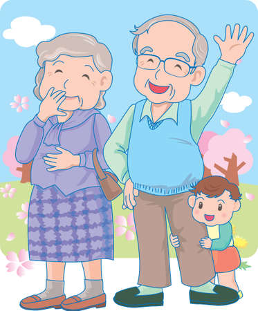 Vector Illustration of an happy baby hiding behind grand father.  イラスト・ベクター素材