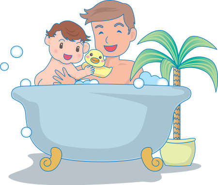 Vector Illustration of an happy baby enjoying bath with father  イラスト・ベクター素材